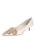 Womens Ivory Satin Brinsley Pointed Toe Kitten Heel