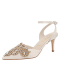 Womens Ivory Satin Emmie Pointed Toe Pump