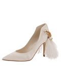 Womens Ivory Satin Shiloh Pointed Toe Pump