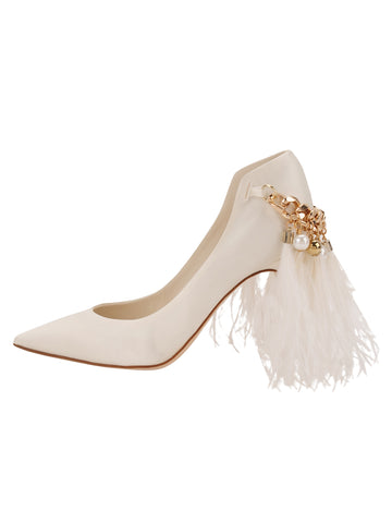 Womens Ivory Satin Shiloh Pointed Toe Pump 7