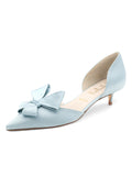 Womens Light Blue Satin Cliff d'Orsay Kitten Heel