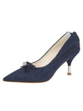 Womens Navy Moire Elsie Pointed Toe Pump