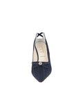 Womens Navy Moire Elsie Pointed Toe Pump 4