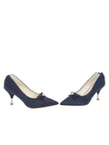 Womens Navy Moire Elsie Pointed Toe Pump 5