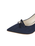 Womens Navy Moire Elsie Pointed Toe Pump 6