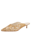 Womens Nude Satin Scroll Kitten Heel Mule