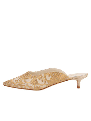 Brancis Kitten Heel Mule - Nude Satin Scroll