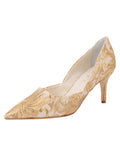 Womens Nude Satin Scroll Erika Pointed Toe Pump