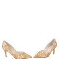 Womens Nude Satin Scroll Erika Pointed Toe Pump 5