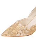 Womens Nude Satin Scroll Erika Pointed Toe Pump 6