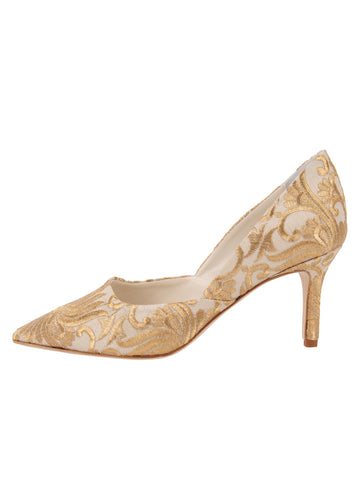 Erika Pointed Toe Pump - Nude Satin Scroll