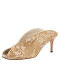 Womens Nude Satin Scroll Georgia Peep-Toe Mule