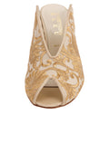 Womens Nude Satin Scroll Georgia Peep-Toe Mule 4