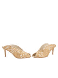 Womens Nude Satin Scroll Georgia Peep-Toe Mule 5