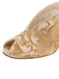 Womens Nude Satin Scroll Georgia Peep-Toe Mule 6
