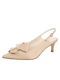 Womens Nude Satin Natalia Pointed Toe Slingback