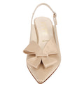 Womens Nude Satin Natalia Pointed Toe Slingback 4