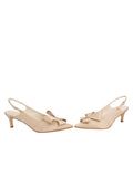 Womens Nude Satin Natalia Pointed Toe Slingback 5