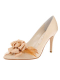 Womens Nude Satin Sasha Pointed Toe Pump