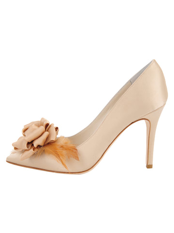 Womens Nude Satin Sasha Pointed Toe Pump 7