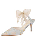 Womens Pearl Blue Romance Elvie Pointed Toe Pump