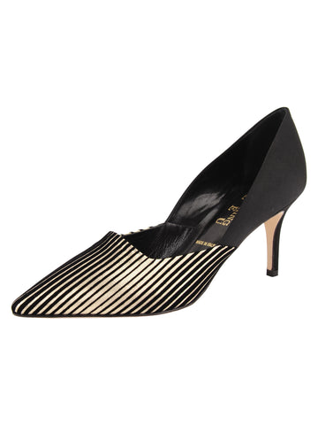 Womens Platinum Stripe Metallic Erika Pointed Toe Pump Alternate View
