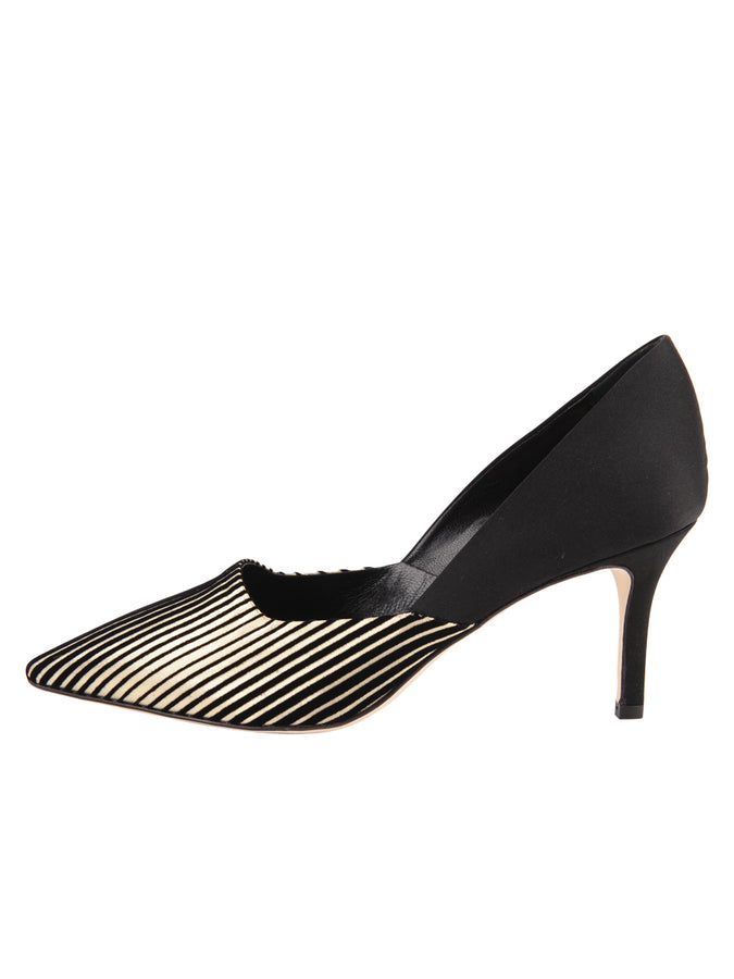 Womens Platinum Stripe Metallic Erika Pointed Toe Pump 7