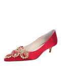 Womens Red Satin Brinsley Pointed Toe Kitten Heel