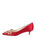 Womens Red Satin Brinsley Pointed Toe Kitten Heel 7
