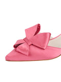 Womens Rose Pink Satin Cliff d'Orsay Kitten Heel 6