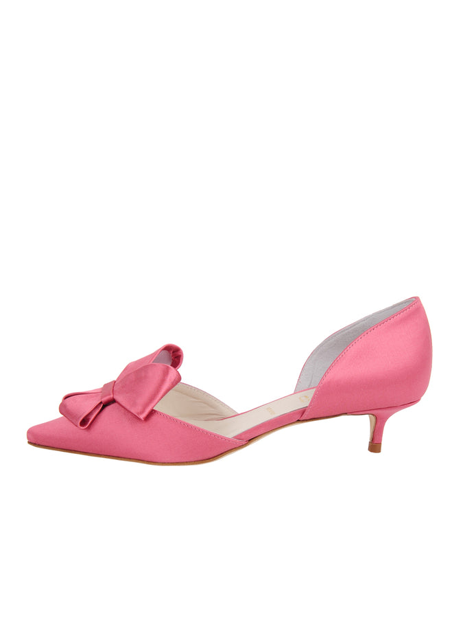 Womens Rose Pink Satin Cliff d'Orsay Kitten Heel 7
