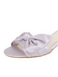 Womens Silver/Lilac Satin Butterfly 6