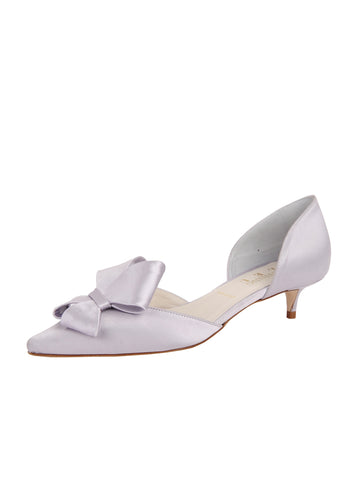Womens Silver/Lilac Satin Cliff d'Orsay Kitten Heel Alternate View
