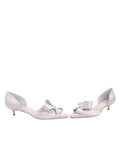 Womens Silver/Lilac Satin Cliff d'Orsay Kitten Heel 5