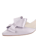 Womens Silver/Lilac Satin Cliff d'Orsay Kitten Heel 6