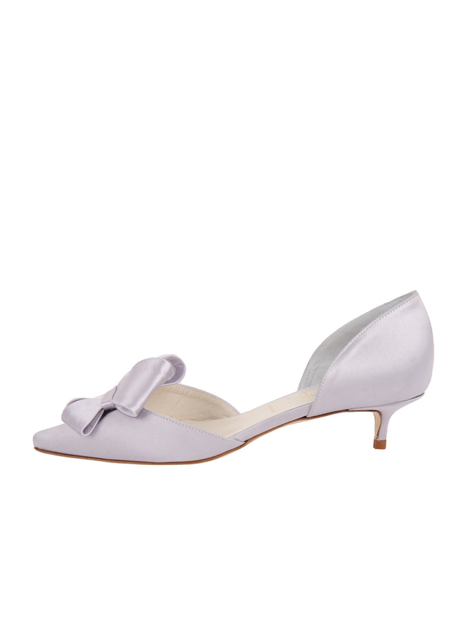 Womens Silver/Lilac Satin Cliff d'Orsay Kitten Heel 7