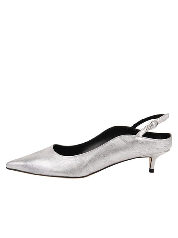 Womens Silver Metallic Floral Brook Slingback Kitten Heel 7