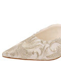 Womens Silver Satin Scroll Kitten Heel Mule 6
