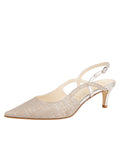 Womens Silver Wash Linen Nadette Pointed Toe Slingback