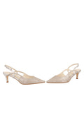 Womens Silver Wash Linen Nadette Pointed Toe Slingback 5