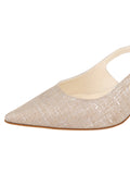 Womens Silver Wash Linen Nadette Pointed Toe Slingback 6