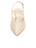 Womens Speckled White Platinum Nadette Pointed Toe Slingback 4