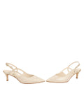 Womens Speckled White Platinum Nadette Pointed Toe Slingback 5
