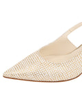 Womens Speckled White Platinum Nadette Pointed Toe Slingback 6