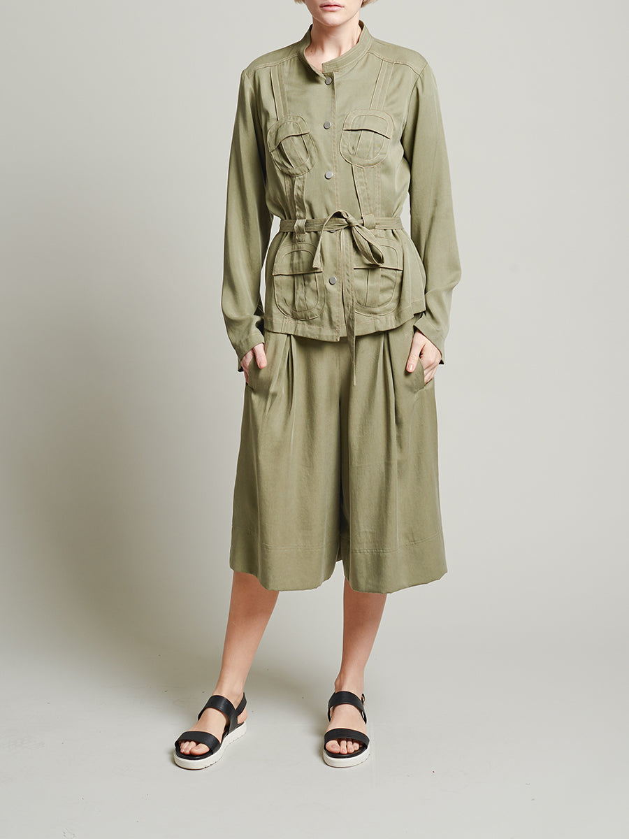 Womens Army Green Tencel Safari Jacket
