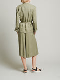 Womens Army Green Tencel Safari Jacket 2