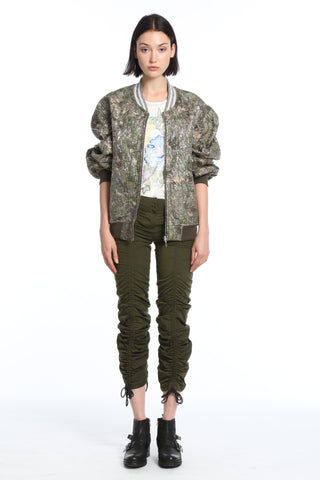 Womens Army Green Poly Twill Ruching Pants