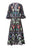 Womens Black/Multi Bird Tree Embroidery Lace Dress