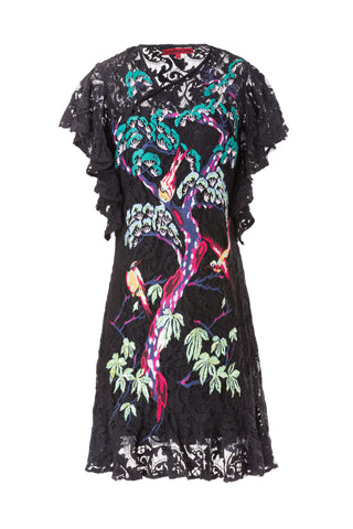 Bird Tree Ruffle Lace Cheongsam - Black/Multi