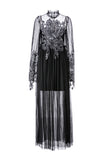 Womens Black Black Skeleton Lace Dress